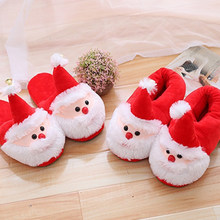 2018 new christmas slippers xmas santa claus shoes warm anti slip shock proof soft fluffy cotton slippers for kids children