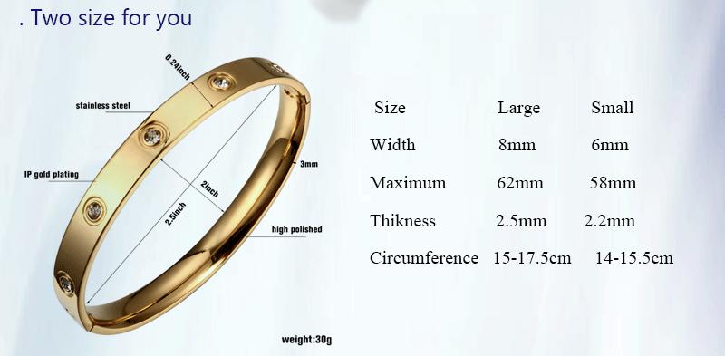 Trendy Rose Gold Love Bracelets Bangles Women Gold Color Stainless Steel Charming CZ Cuff Bracelet Lovers Luxury Brand Jewellery 1