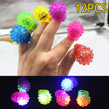12Pcs/ Set Strawberry Shape Flashing LED Ring Toy Luminous Finger Rubber Rings Event Party Supplies YH-17(China)