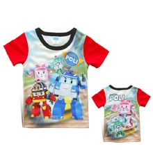Retail 2015 New Summer Children Boys Girls T Shirts Cartoon Car Clothing Kid Robocar Poli T-shirt for Baby Kids Sports Clothes