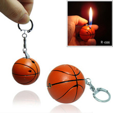 Fashion Novelty Basketball Shape Lighters Refillable Butane Gas Cigarette Lighter Key Chain Ornaments Gift For Smokers(China)