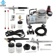 OPHIR PRO Double Action Air Brush Gun & Single-Action Airbrush Kit with Air Compressor for Nail Makeup Cake Model _AC089+071-074(China)