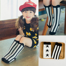 2017 new Girls princess football Striped long socks 0-6 year girls socks Star strips high tube socks leg warmer