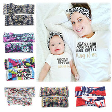 2 Pieces/set Mom And Me Rabbit Ear Headband With Bow For Women Girl Cotton Print Knotted Hairband 10 Colors