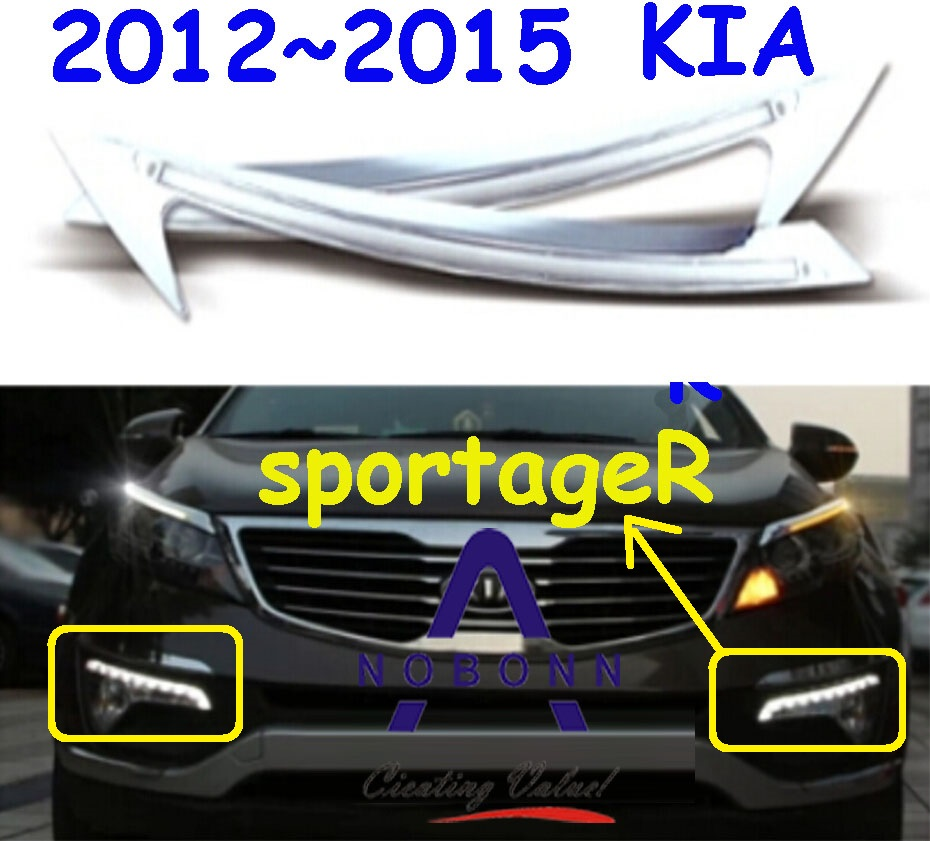 Car-styling,KlA SportageR daytime light,2011~2014,chrome,LED,Free ship!2pcs,KlA SportageR fog light,car-covers,sportage R<br>