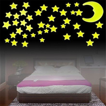 2017 Hot Worldwide Stars Moon Sun Glow In The Dark Luminous Fluorescent Home Wall Stickers Decal(China)
