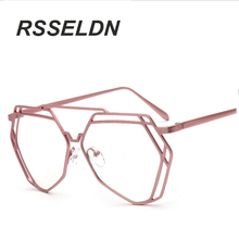 RSSELDN High-end Women'S Glasses Frame Of High Quality Alloy Design Classic Polygon Hollow Out Design Frame Glasses Frame Woman