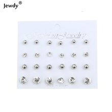 Buy Jewdy 12 pairs/set Crystal Simulated Pearl Earrings Women Fashion Jewelry Bijoux Brincos Pendientes Mujer Stud Earrings for $1.25 in AliExpress store