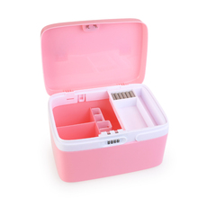 coded Locking Storage Box Medicine Cabinet Movable Sturdy Latch Organizer Bin With Separate Compartments Cosmetics Container