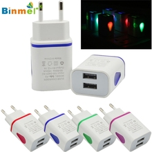 Binmer Good Quality LED USB 2 Port Wall Home Travel AC Charger Adapter For S7 EU Plug Drop Shipping
