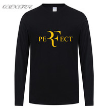 Roger Federer T Shirts Men Fashion Long Sleeve Cotton Tops Perfect Letters Men T-shirt O-Neck Men Clothing Free Shipping