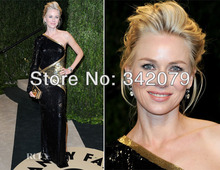 ph12008 Naomi Watts  one-sleeve asymmetrical dress with black-and-gold panels 2 piece bandage dress