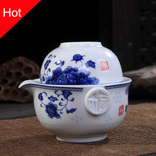 Ceramics Tea set Include 1 Pot 1 Cup, High quality elegant gaiwan,Beautiful and easy teapot kettle,kung fu teaset(China)
