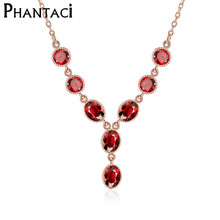 AAA Roby Zircon Choker Necklaces&Pendants Rose Gold Oval Red Crystal Rhinestone Collar Chains Necklace For Women Jewelry 2016(China)