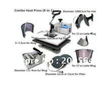 Multifunctional Combo Heat Press Machine for sublimation transfer for mug t-shirt cap plate printing 8 in 1