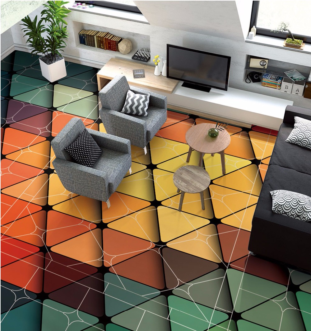 Free Shipping 3D fashionable geometric triangle graphic arrangement Ceiling floor painting living room floor wallpaper mural<br>