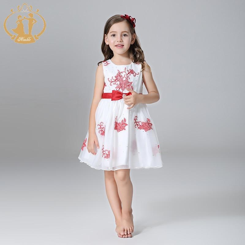 Nimble  Summer Girls Dress Party Princess Wedding Girls Dress  Flowers Embroidery Beaded  Orangza Satin Clothes<br><br>Aliexpress