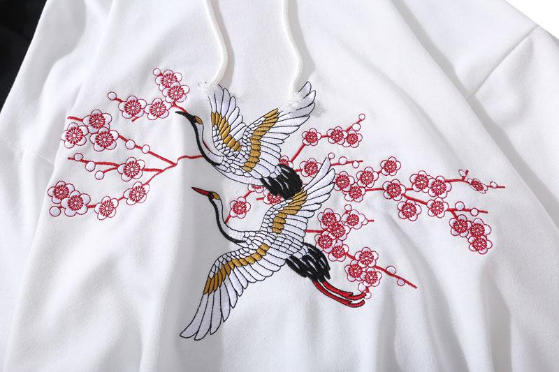 Embroidery Crane Flowers Hoodies 4