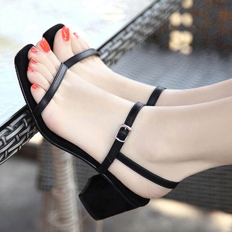 D&amp;Henlu Womens Sandals Slippers Women Open Toe Shoes Thick Heel Flip Flops Ladies Sandals Summer Heels Ankle Strap Blue Shoe<br>