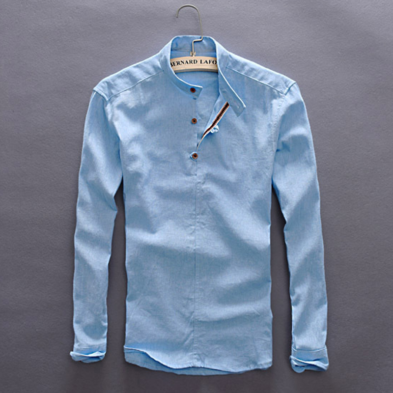 New Mens Leisure Style Dress Shirts Long Sleeve Button-down Collar 100% Cotton Linen Soild Classic Slim Fit Mens Clothing Y005 9