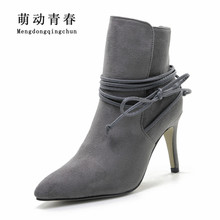 Winter Boots 2016 Womens Lace Pointed Toe Suede Boots Sexy High Heels Ankle Boots Autumn Shoes Woman Fur inside Zapatos Mujer