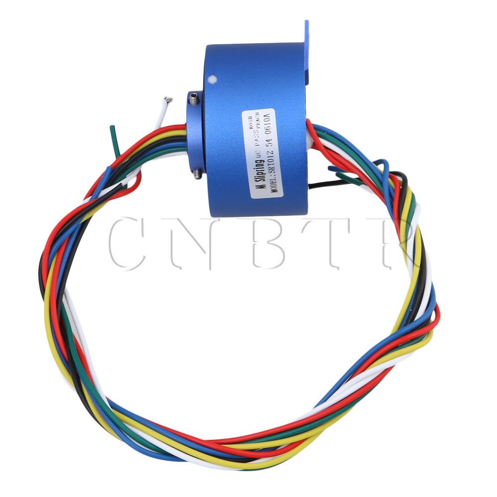 CNBTR 6 Wires 380V 10A 12.7MM Hole Dia Blue Metal Plastic Via Hole Capsule Slip Ring for Electronic Equipment<br>
