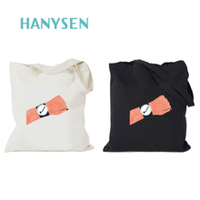 HANYSEN 2017 Hot Sale Summer Girls Personalized Fresh Style Watch Printing Casual Tote High Quality Canvas Shopping Bags(China)