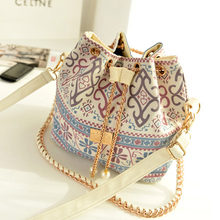 2016 New Bohemia Canvas Drawstring Bucket Bag Shoulder Handbags Lady Faux Pearl Letter Bucket Tote Shoulder Crossbody Bag