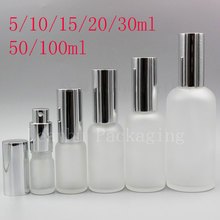 Transparent Frosted Glass Bottle Mist Spray Perfumes Pump Essential Oil Lotion Pump Glass Containers Display Vial 15pc/lot(China)