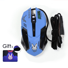 New Overwatch Bunny Cosplay USB Wired Gaming Mouse D.VA Anime 2400DPI Optical Night Lights 6 Keys Cute Mouse+Free Mouse Pad Gift