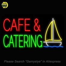 Cafe and Catering Neon Sign Glass Tube neon word light Neon Bulb Sign Advertise Lamp Display ARTWORK Handcraft light up for sale(China)
