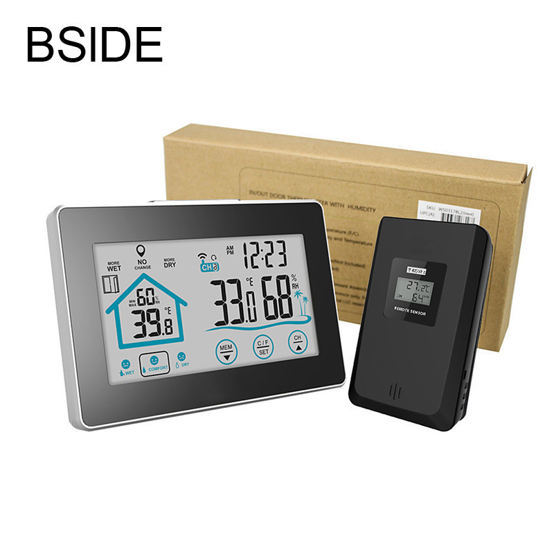 Weather Station Temperature Humidity Meter Sensor Hygrometer Digital Thermometer Wireless Touch LCD Clock Indoor Outdoor<br>