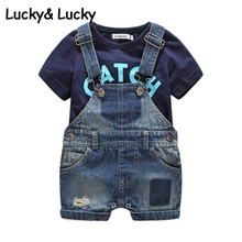 Voguish Boutiqu Bebes newborn clothes cotton letter printed t-shirt with demin overalls baby boys clothes(China)