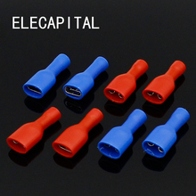 200pcs Fully Insulated Splice Wire Cable Connector 6.3mm Crimp Electrical Terminals 100 Red 100 Blue Kit Set(China)