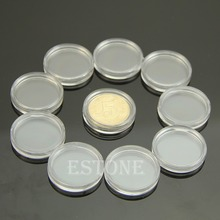 10 PCS Applied Clear Round Cases Coin Storage Capsules Holder Round Plastic 22mm Free shipping-Y102