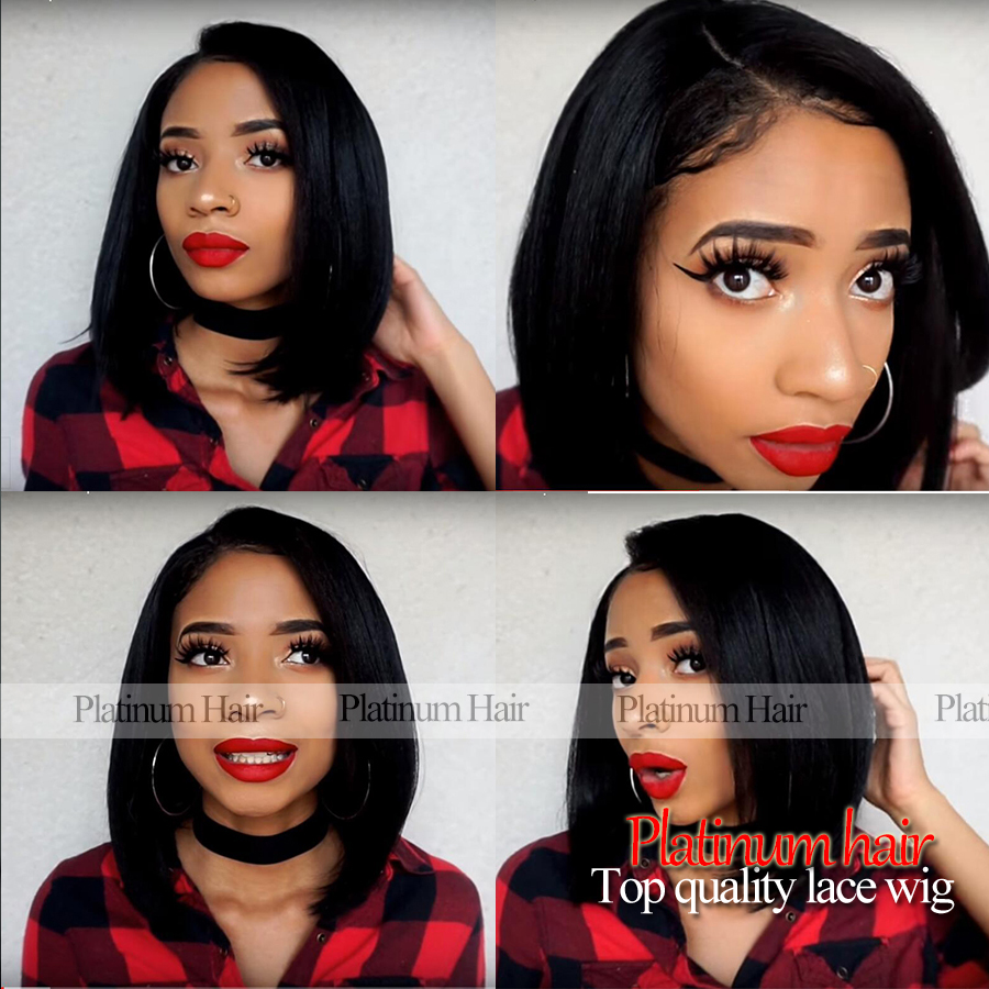 Hot Sale Fashion Bob Wigs Silky Straight Short Hair Synthetic Lace Front Wig With Baby Hair Heat Resistant Wig For Black Women<br><br>Aliexpress