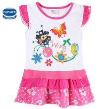 Girls dress novatx children clothing appliques dora kids girls clothes cotton summer sleeves floral baby princess dress H5099