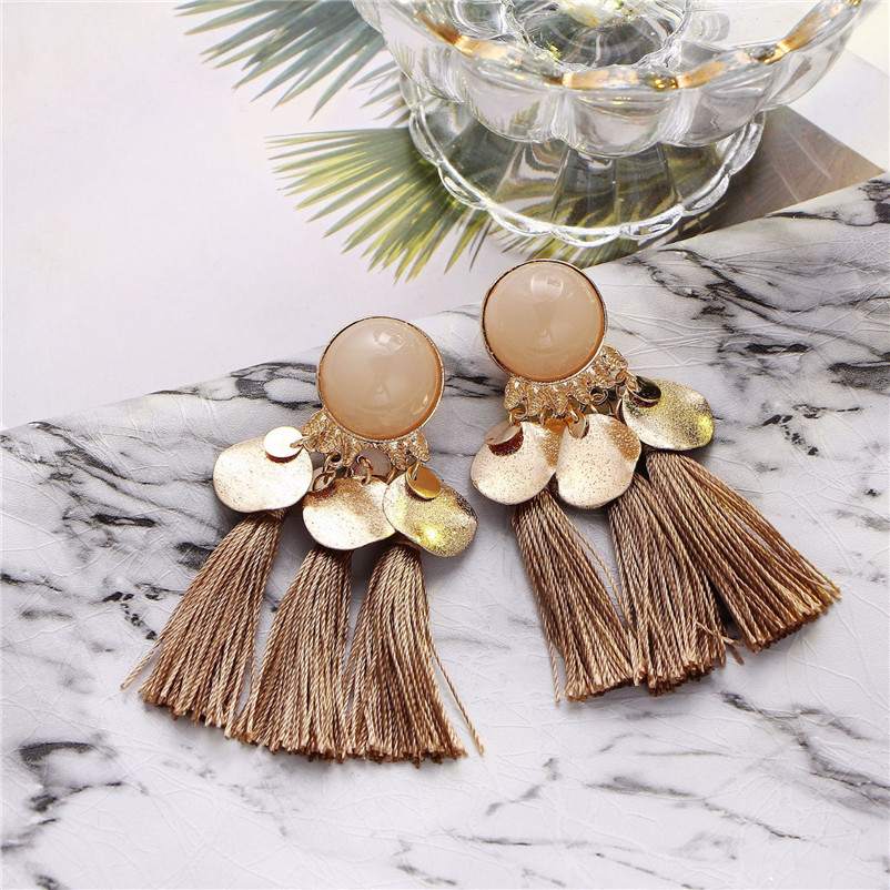 2018 Trendry Earrings for Women Bohemian Fashion Weave Tassel Earrings Long Drop Earrings Jewelry for gift Brincos J05#N (12)