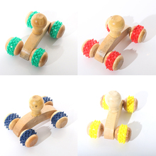 Random Wood Full-body Four Wheels Wooden Car Roller Relaxing Back Massage Tool Reflexology Face Hand Foot Back Body Therapy