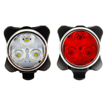 Practical Cycling Bicycle Bike 3 LED Head Front Rear Tail light Warm Rechargeable Battery With USB Charging Cable 2 Color Avai(China)