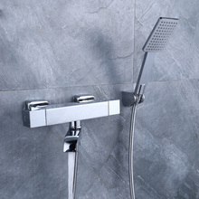 Thermostatic Bath faucet With Hand Shower Wall Mounted Bathtub Faucets Chrome Finished
