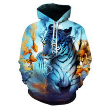 3D Tiger Hoodies Sweatshirts Men Women Sweat Homme 2017 Fashion Casual Men Hoodie Sweatshirt Harajuku Hip Hop Hooded Pullover(China)