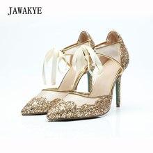 JAWAKYE oro bling Sequins Spliced encaje zapatos de boda mujer 12 cm punta  estrecha tacones altos zapatos de fiesta de cristal m. 08e56a596b2c
