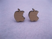 fashion plant earring an eating apple  vintage stud earrings wood