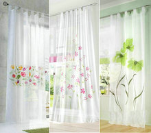 Europe Colorful handmade inkjet flowers design loops style sheer voile living room window curtain (One sheet)(China)