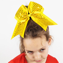 7Inch Large Sequin Grosgrain Ribbon Hair Bows WIth Rubber Black Bands Girls Hair Accessories 3Pcs/lot(China)