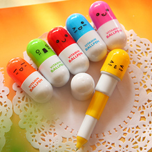 1 / 5 PC Cute Smiling Face Pill Ballpoint pen Telescopic Vitamin Capsule Ballpen office school supplies kids gift(China)