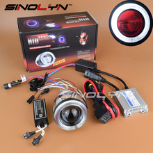 New Motorcycle Headlight Universal 2.0 inch HID Bixenon Projector Lens Xenon Light Headlamp Full Kit With CCFL Angel Eye Halo