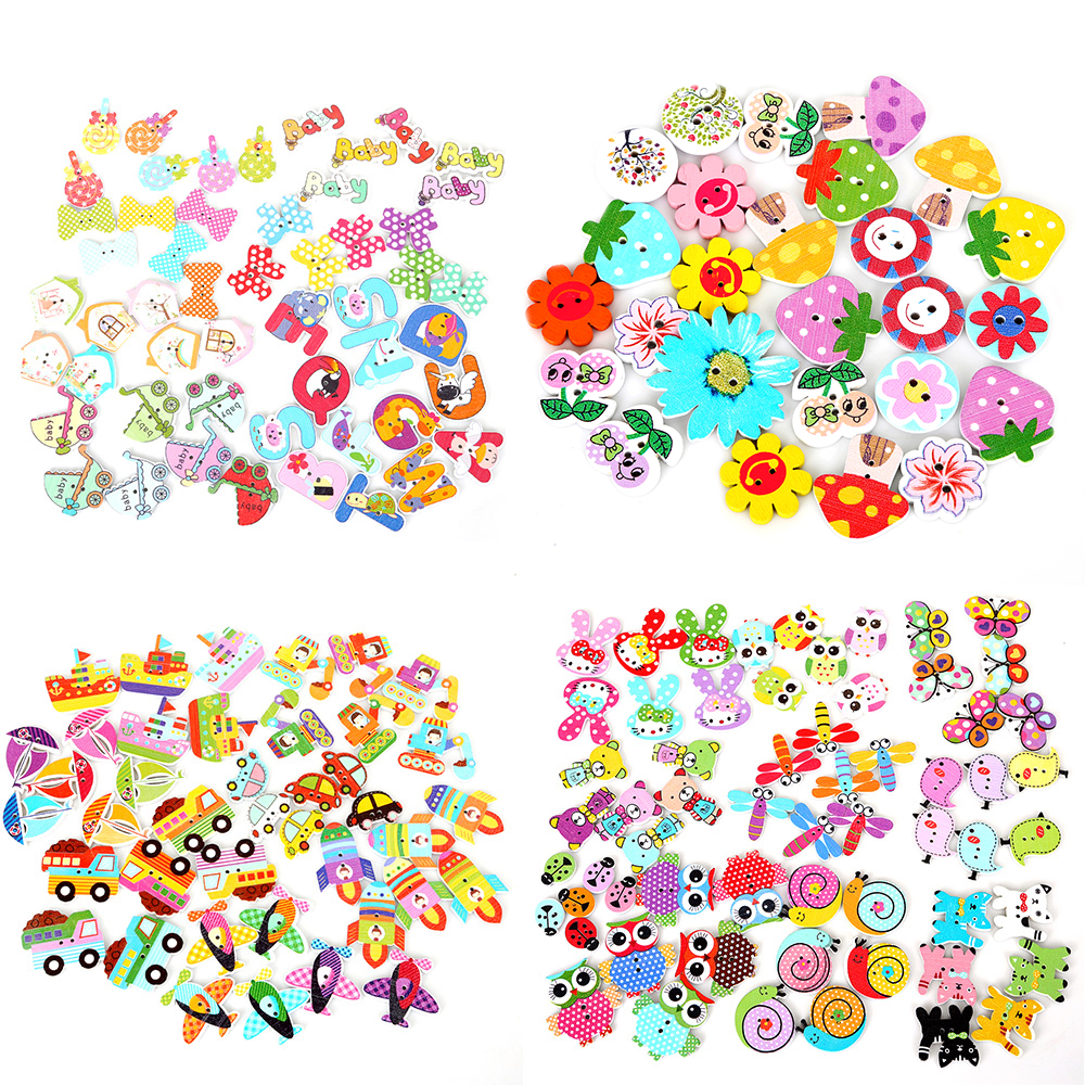 FREE DIY 200pcs cat 2 Holes Wooden Buttons Sewing Scrapbooking Crafts 18mm
