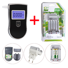 Patent Professional Police Digital Breath Alcohol Tester with 5pcs Mouthpieces+ 4BTY 1350mah AAA Battery +Charger Free shipping(China)
